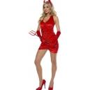 Costume diablesse rouge avec queue de diable, corne et fourche