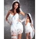 Costumes la Mariée avec traine et jarretière