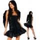 Costume Ange noir avec ailes en plume