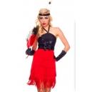 Costume charleston à franges rouge et noir