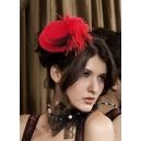 Mini chapeau rouge avec plume