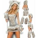Costume loup gris en fourrure