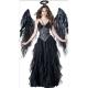 Costume Ange noir avec ailes et halo