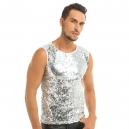 Déguisement Gilet Homme Disco brillant argenté M à XL