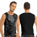 Déguisement Tee shirt Homme Disco sequin argenté M à XL
