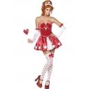Costume dame de coeur avec bas, gants, couronne