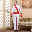 Déguisement veste rouge pantalon chemise jabot de prince