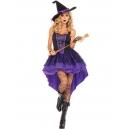 Costume sorciere violette avec chapeau