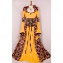 Robe médivale deluxe jaune et bordeaux