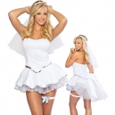 Costumes l'adorable Mariée avec traine et jarretière