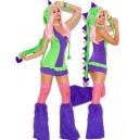 Costume petit dragon vert et violet