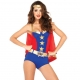 Costume wonderwoman combishort avec cape